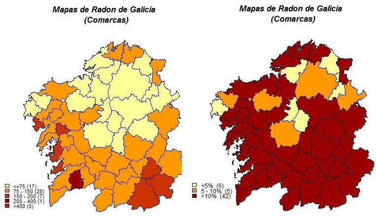 Trinta comarcas galegas teñen alto risco por radon