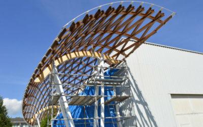 A primeira cuberta reticular de eucalipto do mundo, en Lugo